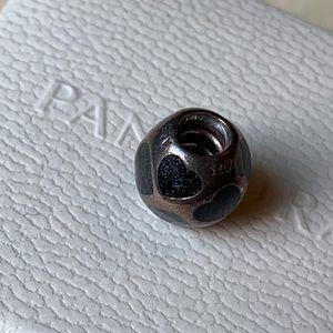 Pandora black sparkly heart retired charm